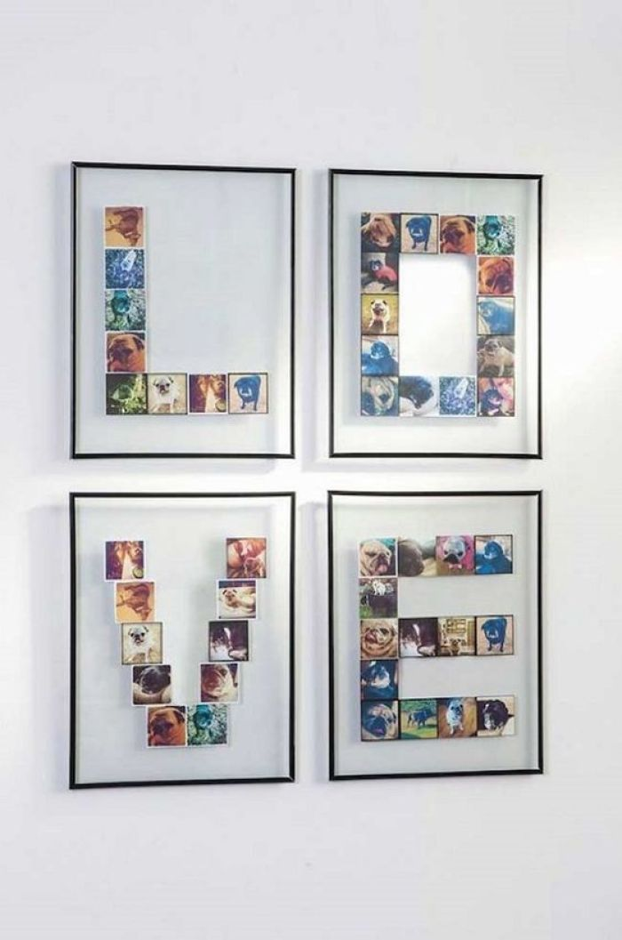 4 quadros com fotos.