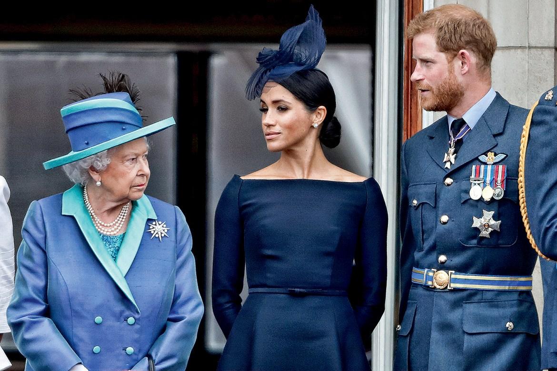 Duque Harry, Duquesa de Sussex Meghan e Rainha Elizabeth II.