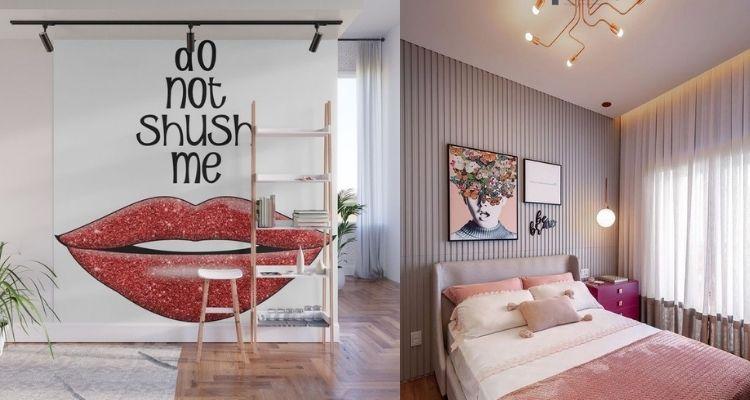 sala e quarto com decoração feminista