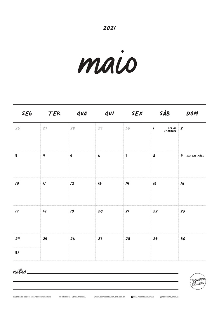 calendário do mês de maio para imprimir