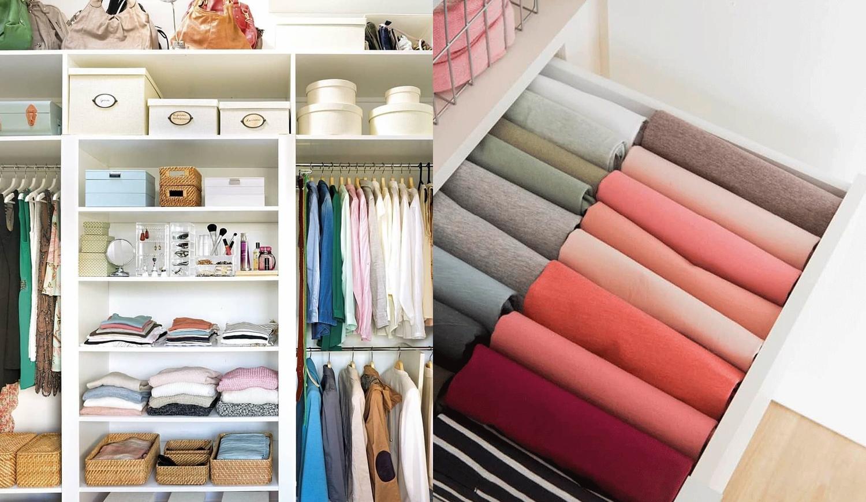 Guarda-roupas organizado.