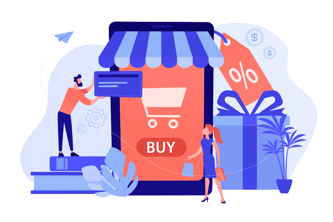 Imagem de um casal perto de um smartphone enorme com o ícone de compra na tela faz compras online.