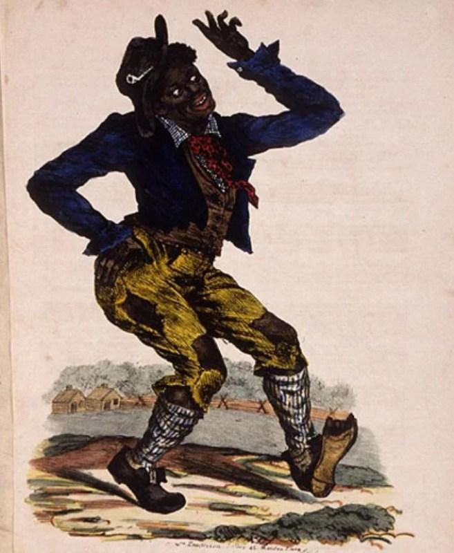 """Ilustração estereotipada e pejorativa de um negro na famosa capa da primeira edição partitura da música """"Jump Jim Crow"""", de 1832."""