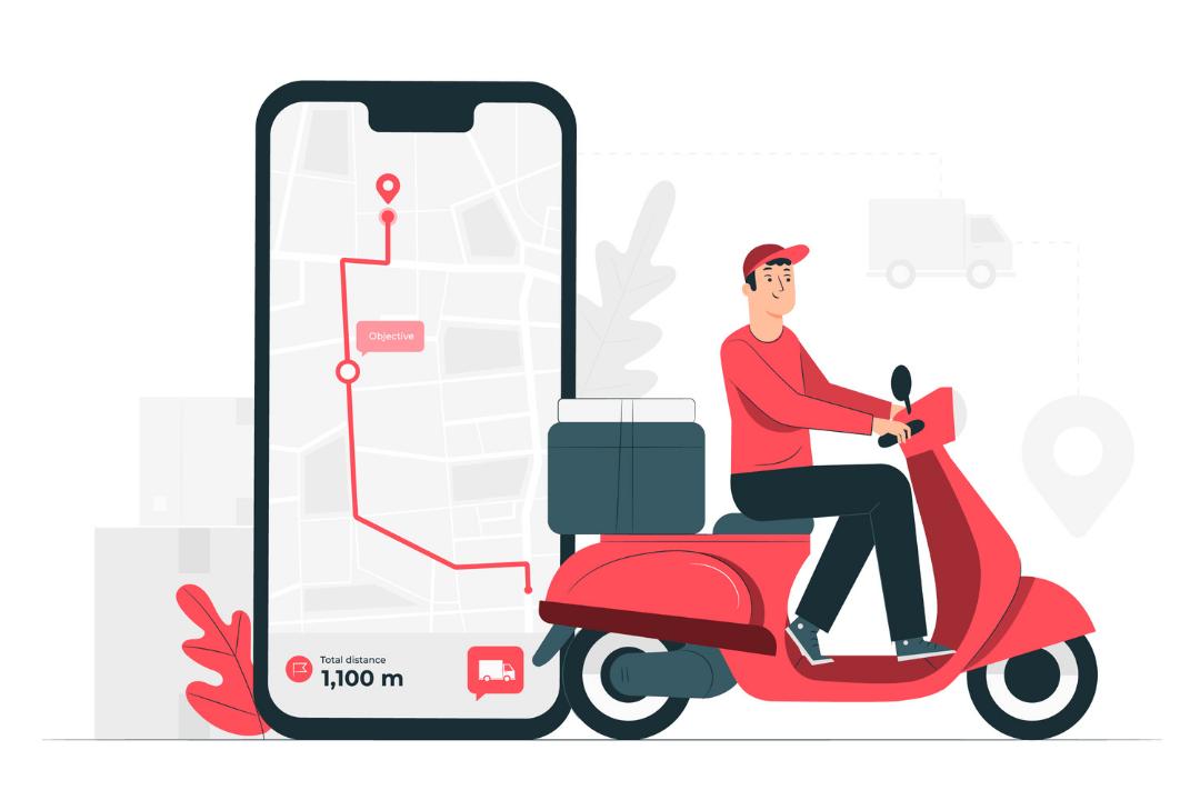 Imagem de um entregador a caminho da casa do cliente montado em uma scooter vermelha