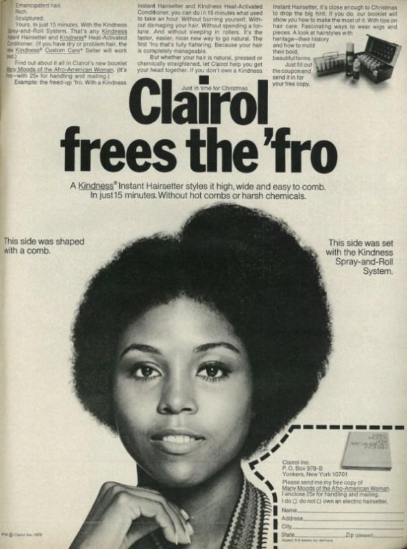 Propaganda de um produto para liberar o cabelo Black Power.