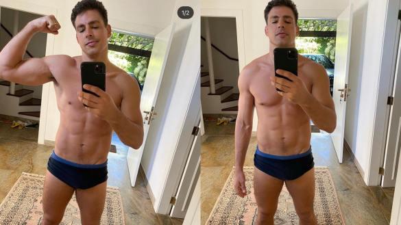 Cauã Reymond posta foto de sunga no Instagram e pede biscoito para fãs (imagem: Instagram)