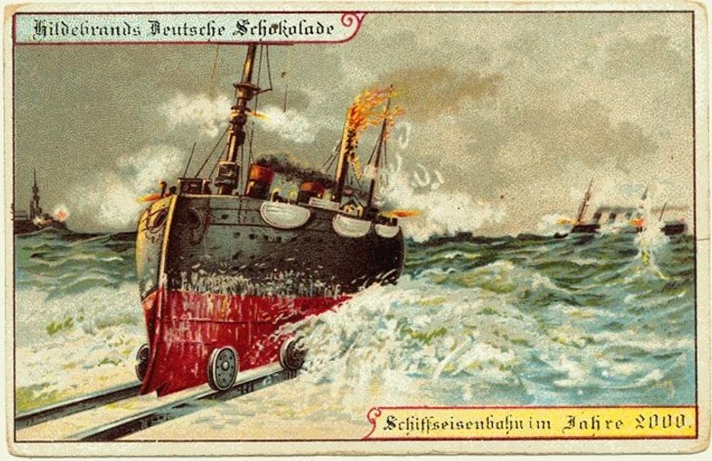 Barco e trem híbrido - antepassados imaginavam para o futuro.
