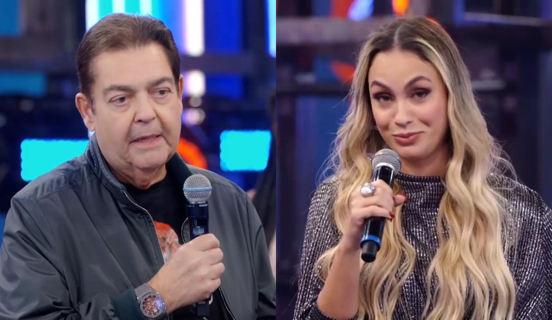 Sarah Andrade e Faustão.