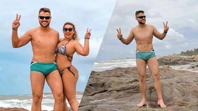"""Zé Neto relembra polêmica da """"foto de sunga verde"""" (montagem: Fashion Bubbles)"""