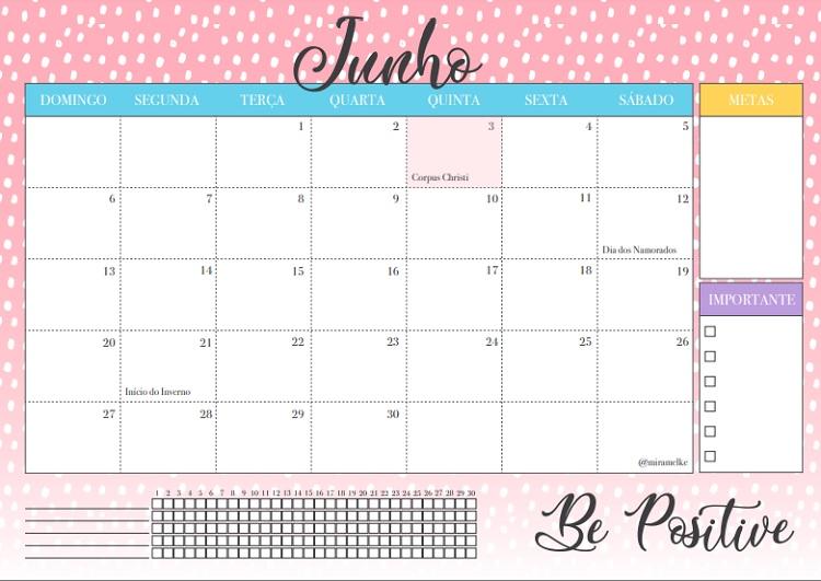 calendário de junho de 2021