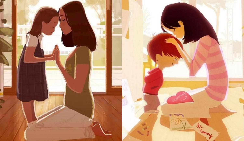 Mãe e filhos.