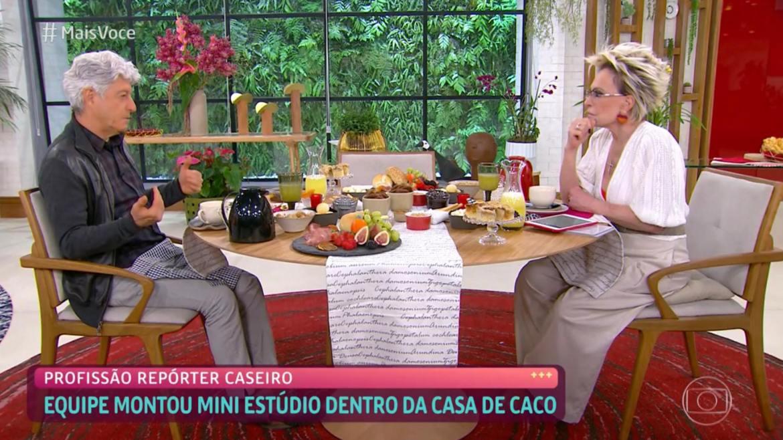 Ana Maria Braga recebe o jornalista Caco Barcellos (imagem: reprodução Globo)