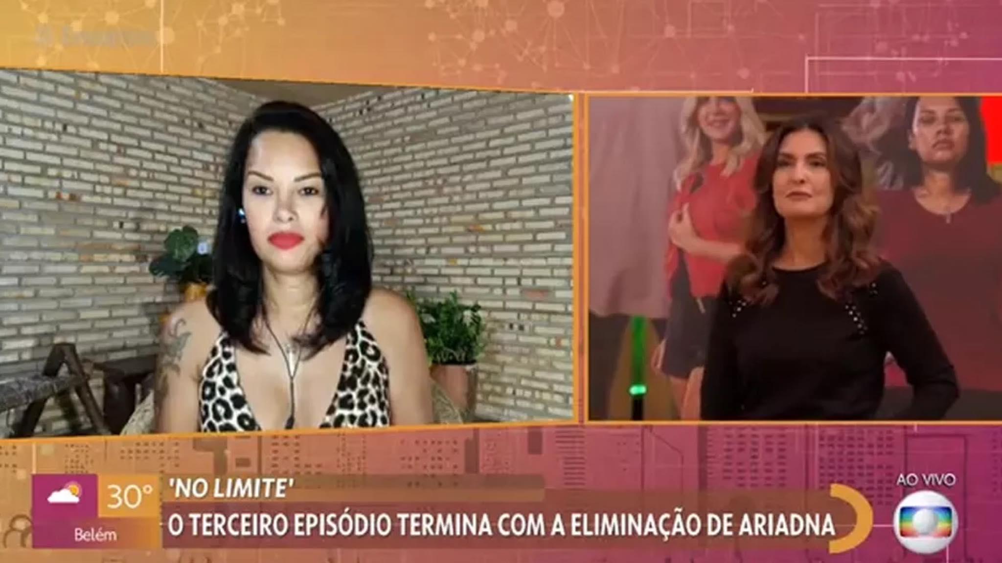 Ariadna é convidada do Encontro com Fátima (imagem: reprodução/ Globo)