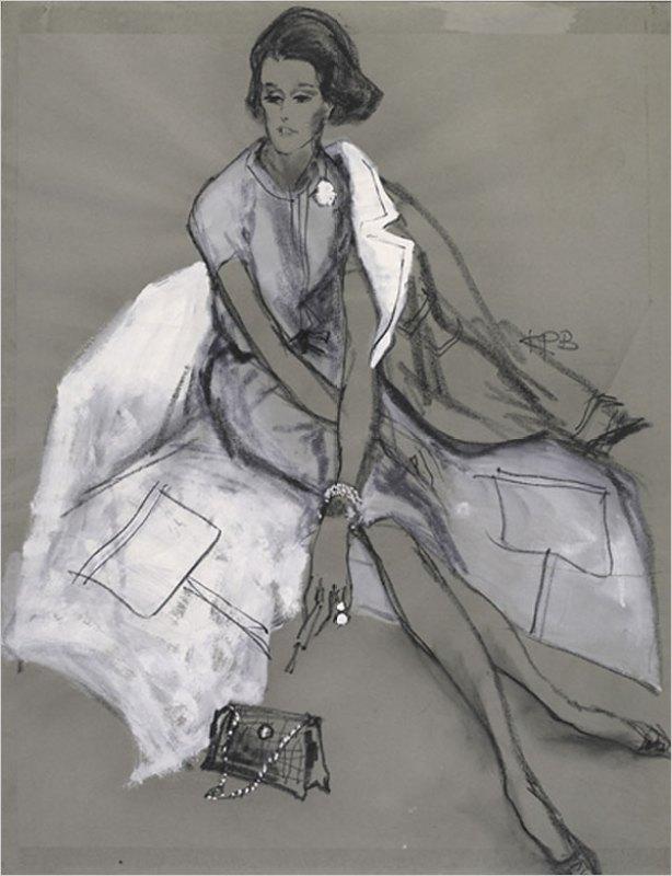 Retrato de Babe Paley feito por Kenneth Paul Block em 1964.