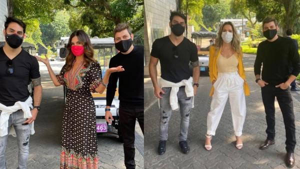 Caio e Rodolffo encontram com Fátima Bernardes na porta dos Estúdios Globo. Ingrid Guimarães também divulgou foto com os ex-BBBs 21 (montagem: Fashion Bubbles/ Instagram)