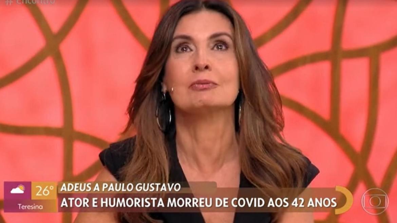 Fátima Bernardes chora ao falar de Paulo Gustavo (imagem: reprodução Globo)