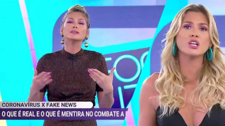 """Após episódio de """"fake news"""" no SBT, Lívia Andrade se desculpou. Mas foi afastada da emissora e mais tarde deixou o canal (montagem: Fashion Bubbles)"""