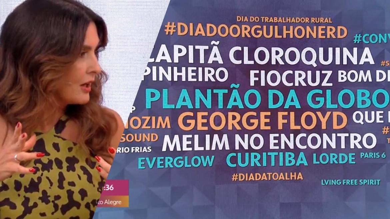 Fátima Bernardes revela que Plantão Globo entrou nos termos mais buscados nessa manhã (montagem: Fashion Bubbles)