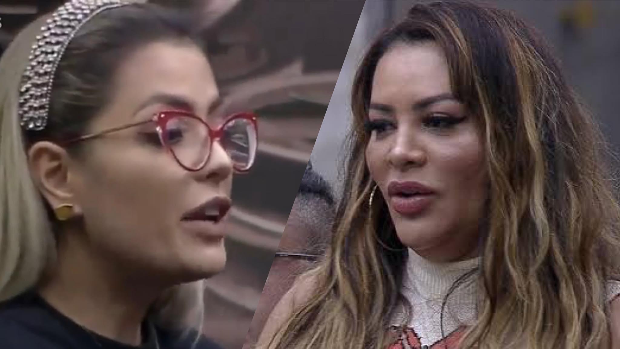 Li Martins diz que Márcia Fellipe à empurrou na volta da DR, na noite de quinta-feira no Power Couple (montagem: Fashion Bubbles)