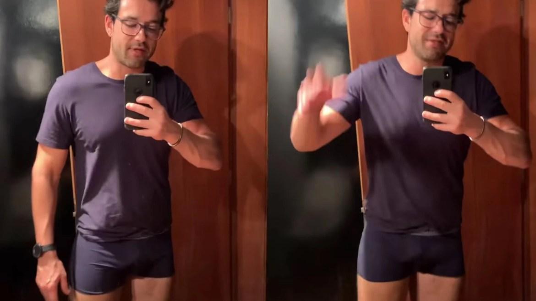 Sergio Marone encantou os fãs com a decoração do apartamento e também com o reflexo no espelho (montagem: Fashion Bubbles)