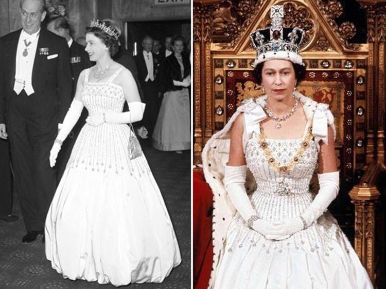 À esq., a Rainha Elizabeth II na première de Lawrence from Arabia, em 1962. E à dir., na abertura do Parlamento, em 1966.