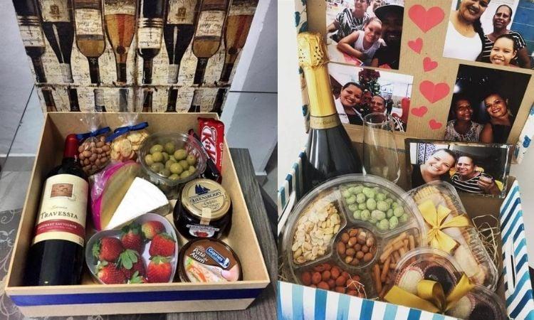 cesta queijo e vinho