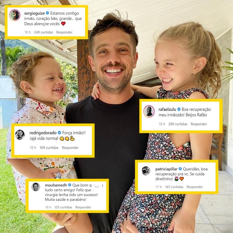 Comentários do Instagram desejam saúde a Rafael Cardoso.