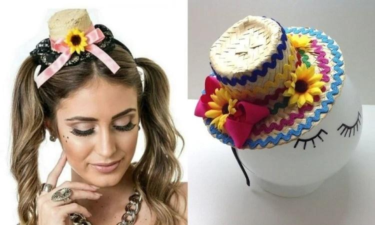 tiara com chapéu de festa junina