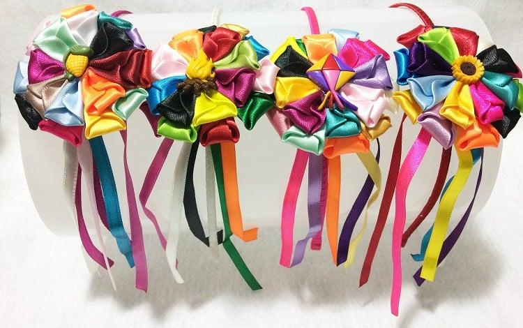 tiara de flores de fita
