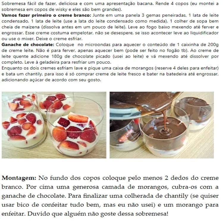 Opções de sobremesa para o Dia dos Namorados: Morango ao Creme com Ganache de Chocolate.