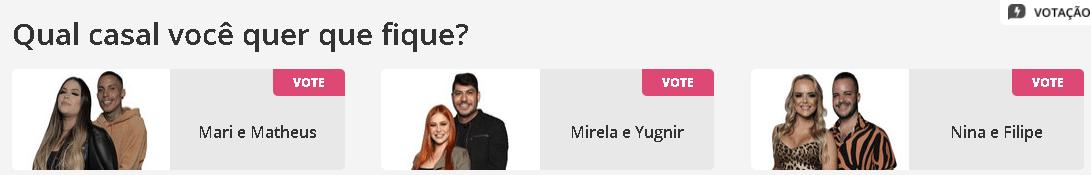 Qual casal você quer que fique na sétima DR? Mari e Matheus, Mirela e Yugnir, Nina e Felipe?