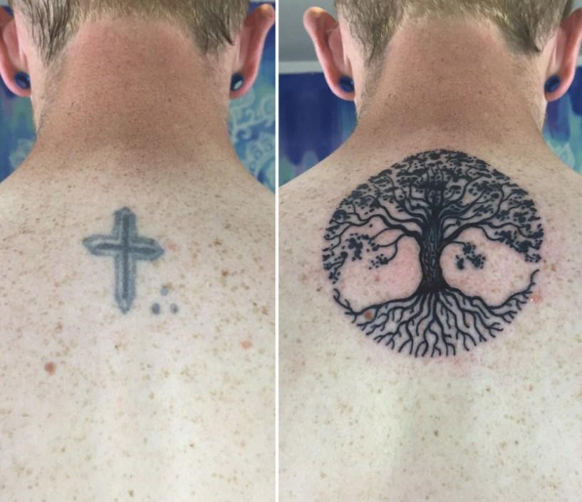 cobrir tatuagem antes e depois nuca