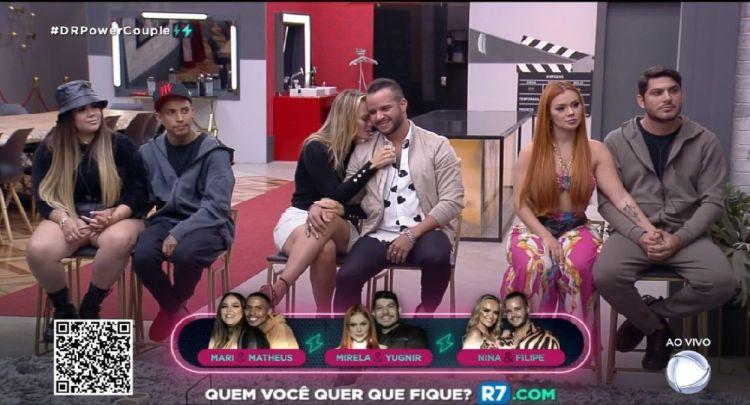 Formação da sétima DR do Power Couple com Mari e Matheus, Mirela e Yugnir, Nina e Felipe