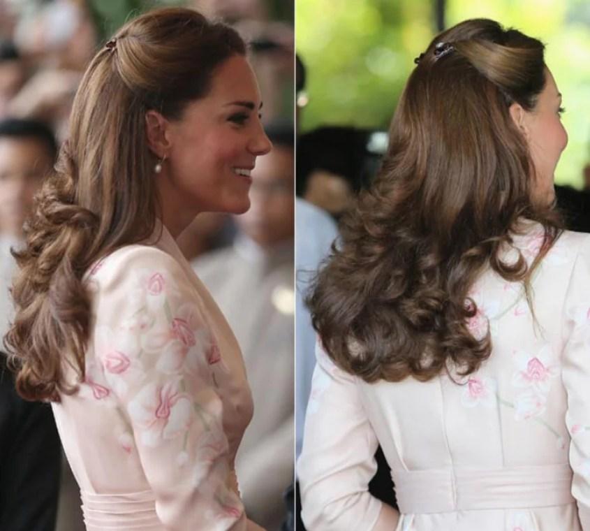 Kate Middleton usa mini piranhas para fazer penteado com ondas laterais.