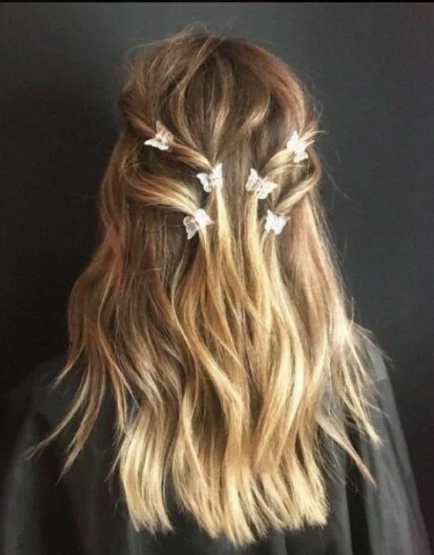 penteado com mini piranhas de borboletas