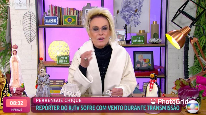 Ana Maria destaca o frio da região sudeste no Mais Você (imagem: reprodução/ Globo)