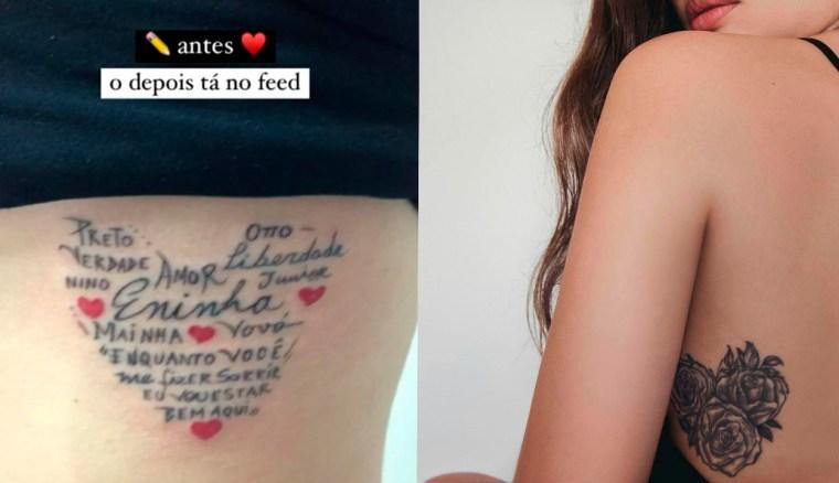 Duas imagens lado a lado da tatuagem na costela de Juliette Freire com antes e depois do Cover-up