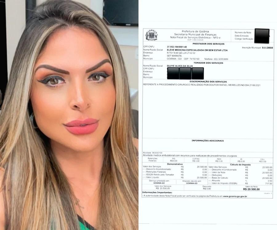 Foto da nota fiscal publicada pela jornalista Silvye Alves referente ao custo pela cirurgia no rosto.