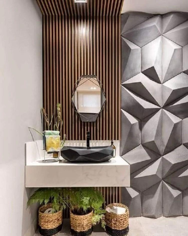 Banheiro com madeira e gesso 3D.