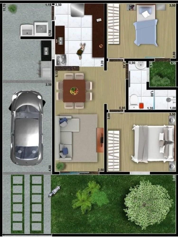Planta de casa com dois quartos com jardim ao lado do banheiro.
