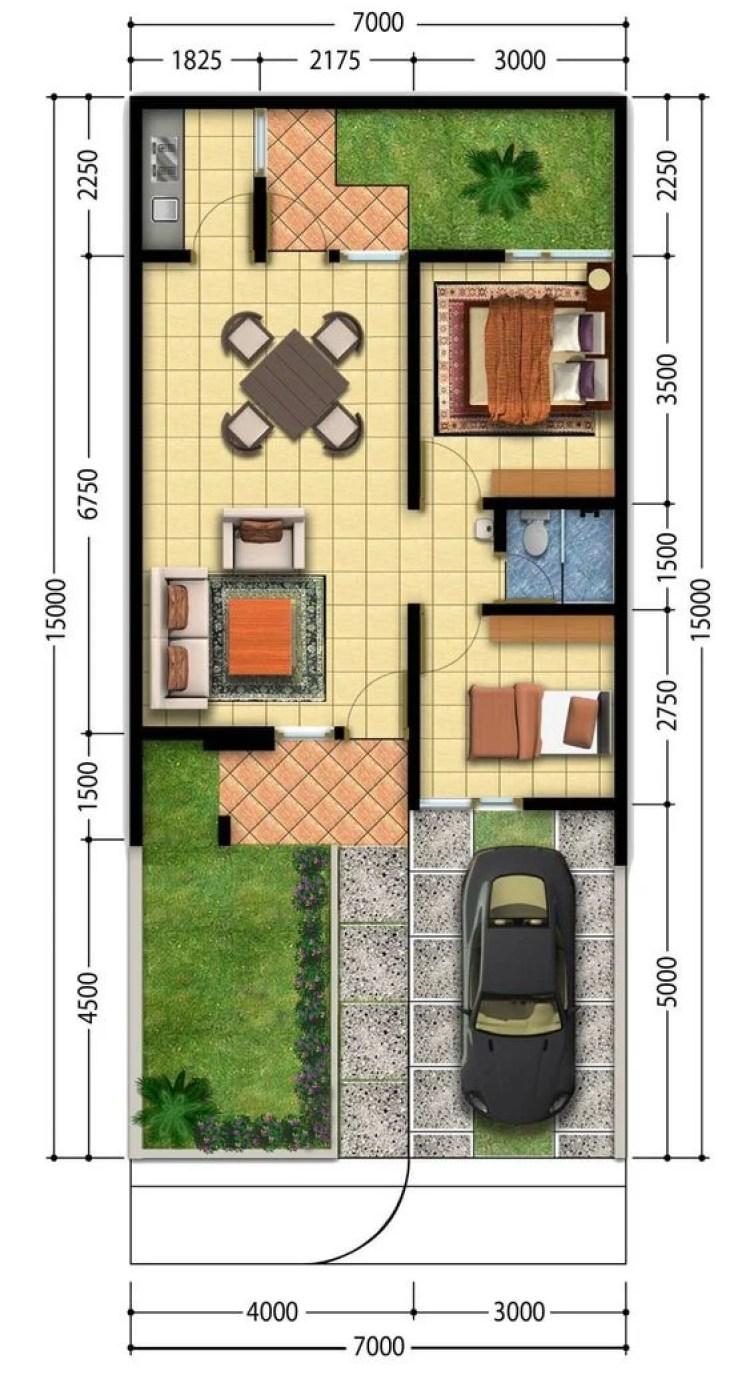 Planta de casa com dois quartos com medidas.