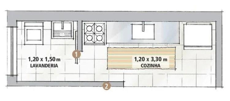 Planta baixa de cozinha de apartamento.