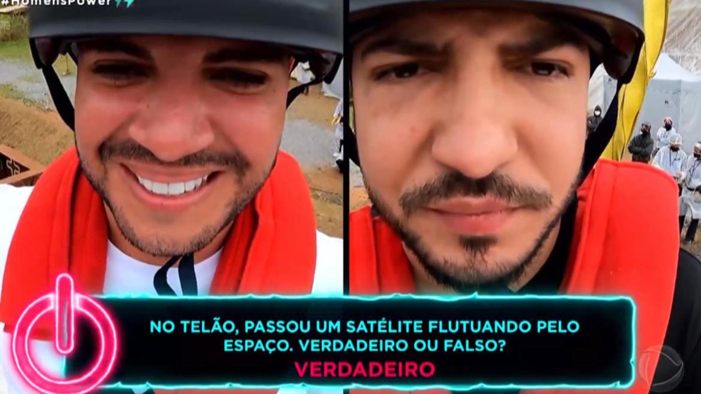 Felipi e Thiago respondem perguntas de Adriane Galisteu após serem arremessados na Prova dos Homens no Power Couple (imagem: reprodução/ Record TV)