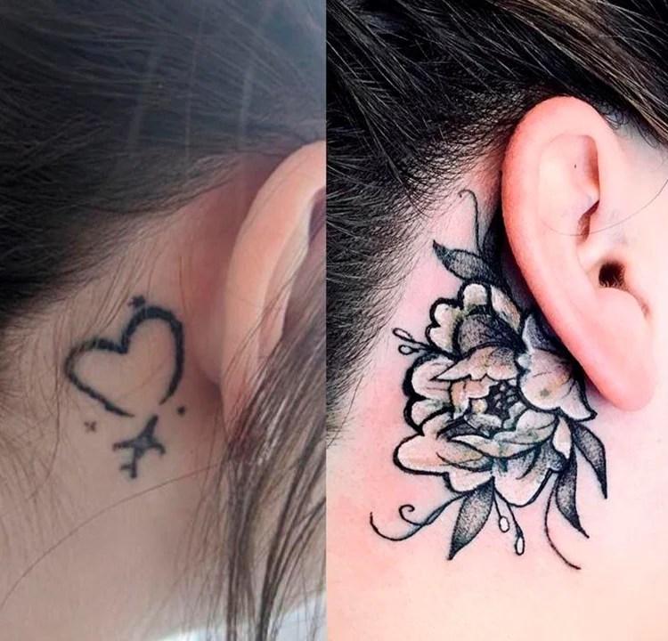 Duas imagens lado a lado. A primeira de uma tatuagem de um coração completo com um avião na ponta atrás da orelha de uma pessoa. A segunda é dessa mesma pessoa, com uma tatuagem de flor cobrindo a do coração, atrás da orelha da pessoa.
