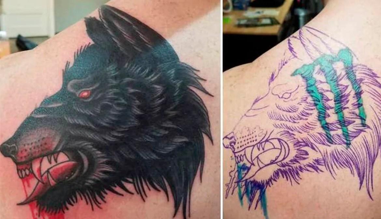 Depois e antes da cobertura de uma tatuagem de garras verdes. A tatuagem nova é a cabeça de um lobo preta.
