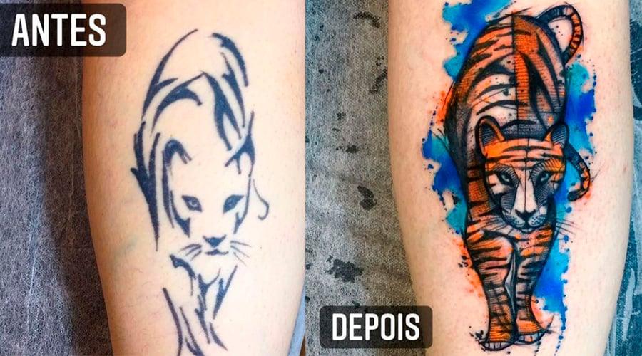 Duas fotos lado a lado. A primeira do outline de um felino feito em tinta preta. Na segunda foto é o mesmo outline, mas foi aproveitado pelo artista para fazer a tatuagem de um tigre colorido.