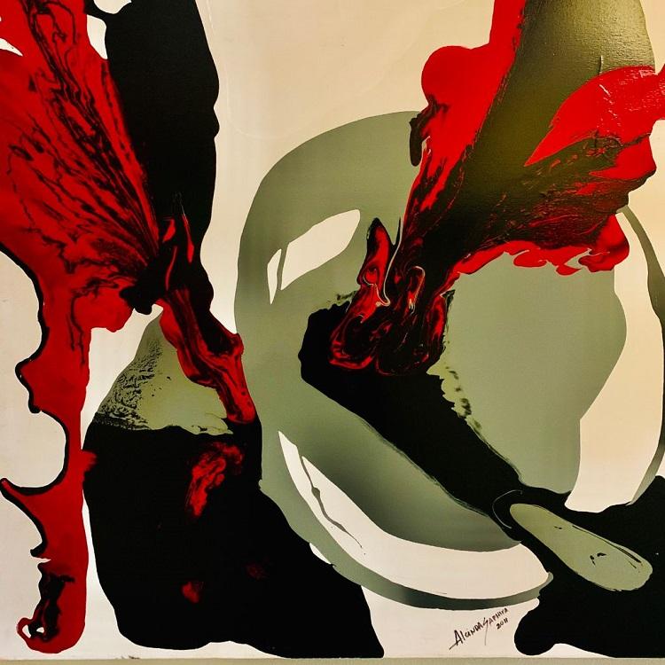 Pintura em tons de cinza, preto e vermelho