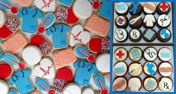 Montagem com foto de biscoitos e cupcakes com tema Medicina