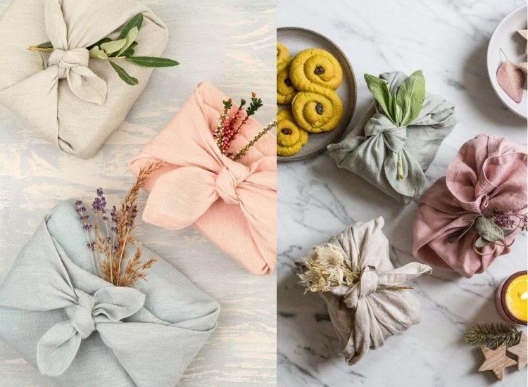 Presentes embrulhados com tecido colorido e flores