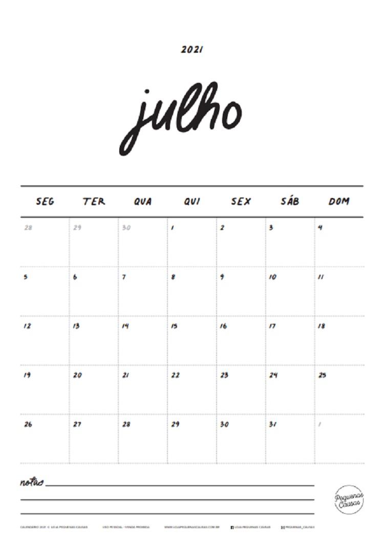 calendário de julho de 2021